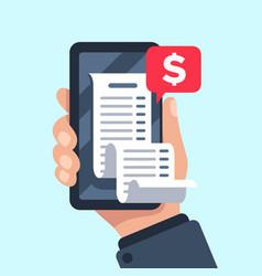 Smartphone receipt bill billing check online vector