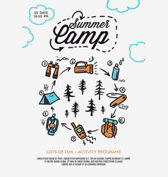 Summer camp poster tent campfire pine forest vector