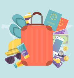 Summer travel bag with stuff for journey vector