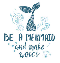template with hand drawn mermaid tale and vector image