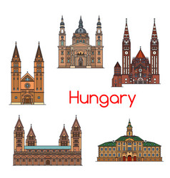Tourist sight of hungary thin line icon set vector