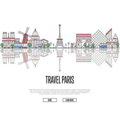 travel tour to paris poster in linear style vector image