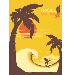Tropical paradise with palms island and surfer vector