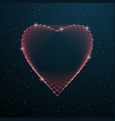 valentines day polygonal heart shape with dots vector image