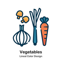 vegetables lineal color icon vector image