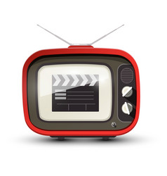 Vintage tv with film clap on screen retro vector