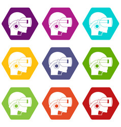 Vr headset icon set color hexahedron vector