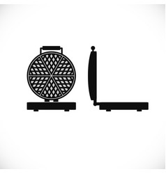 waffle iron front and side view flat icon of vector image