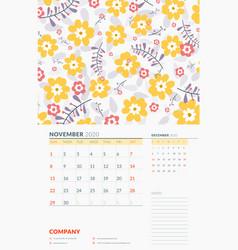 Wall calendar template for november 2020 week vector