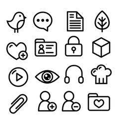Website menu navigation line icons - social media vector image
