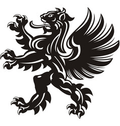 Winged lion tattoo vector