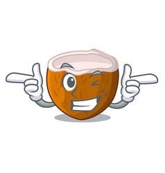 Wink cartoon delicious ripe coconuts for drinking vector