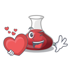 With heart wine decanter on the table cartoon vector