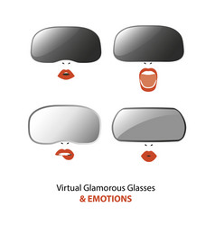 Woman wearing virtual reality glasses vector
