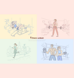 woman working out in fitness club bodybuilder vector image