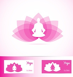 Yoga lotus flower meditation man logo shape vector image