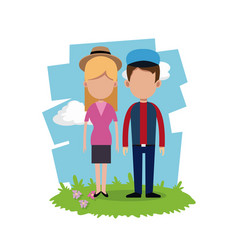 Young couple field background vector