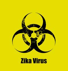 zika virus warning sign on a yellow background vector image