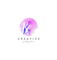 bb watercolor letter logo design with purple vector image