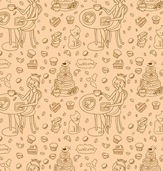 Coffee and cakes seamless background pattern vector image
