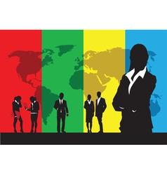 business people on a world background vector image vector image