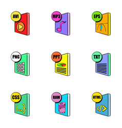 File format icons set cartoon style vector