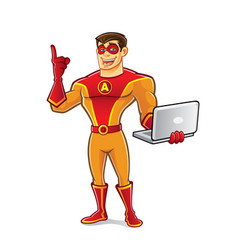 handsome superhero notebook vector image