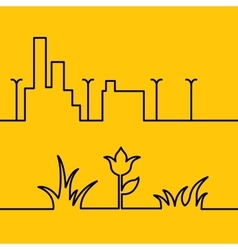 Line city scene and Yellow floral background vector image