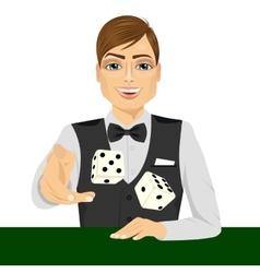 man throwing the dice gambling playing craps vector image