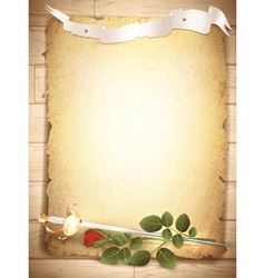 red rose and sword vector image