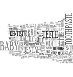Baby war on plaque attack teeth text word cloud vector