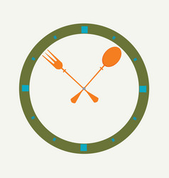 fork and spoon as a clock vector image vector image