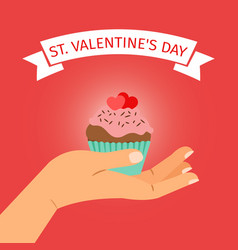 hand with cupcake valentines day vector image vector image
