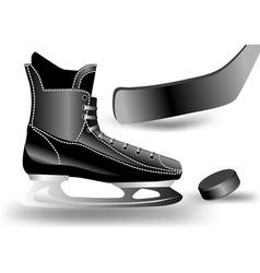 hockey puck stick and skate vector image