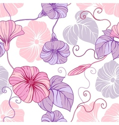 Seamless pattern with hand draw flowers floral vector image vector image