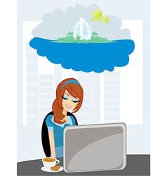 Secretary dreaming of a tropical vacation vector image vector image