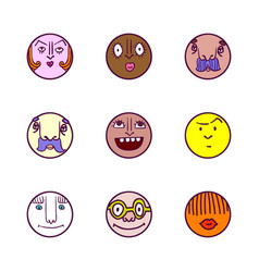 set of face avatar expression icons vector image