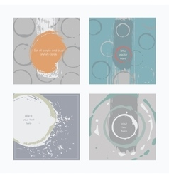 Set of square cards handdrawn decorated with vector image
