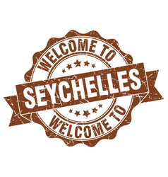seychelles round ribbon seal vector image vector image