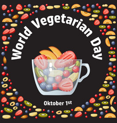 world vegetarian day fruit berry and glass bowl vector image vector image