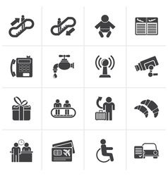 Black Airport travel and transportation icons vector image vector image