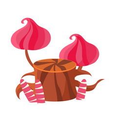 chocolate stump with pink mushrooms made of vector image