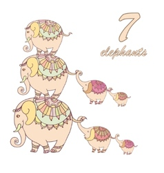 Collection of seven elephants lined vector image vector image
