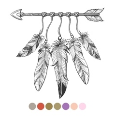Colorng tribal arrow and feathers vector image