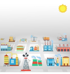 Factory flat industry background with manufactory vector image