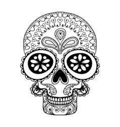 Hand drawn Skull in zentangle style tribal totem vector image