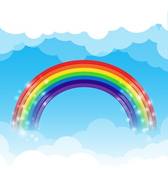 Rainbow cloud and sky background vector image