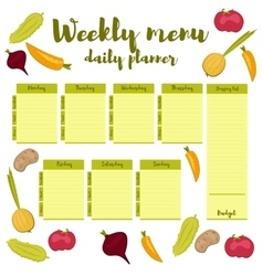 Weekly menu green daily planner vector
