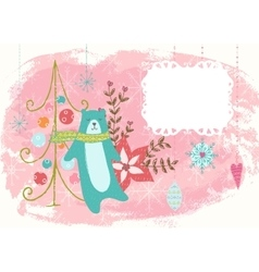 Winter hand drawn poster vector image vector image