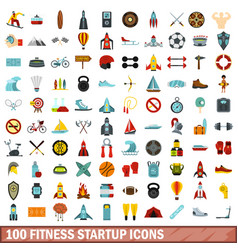 100 fitness startup icons set flat style vector image